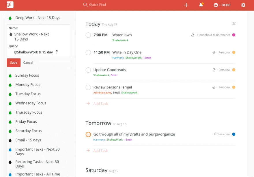 Shallow Work Todoist Filter
